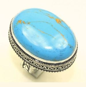 Copper Turquoise Gemstone Silver Ring. Size 9